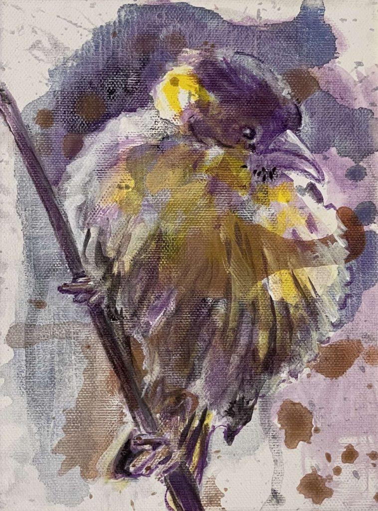 Schilderij Joepe Bos Paars gele vogel 2020