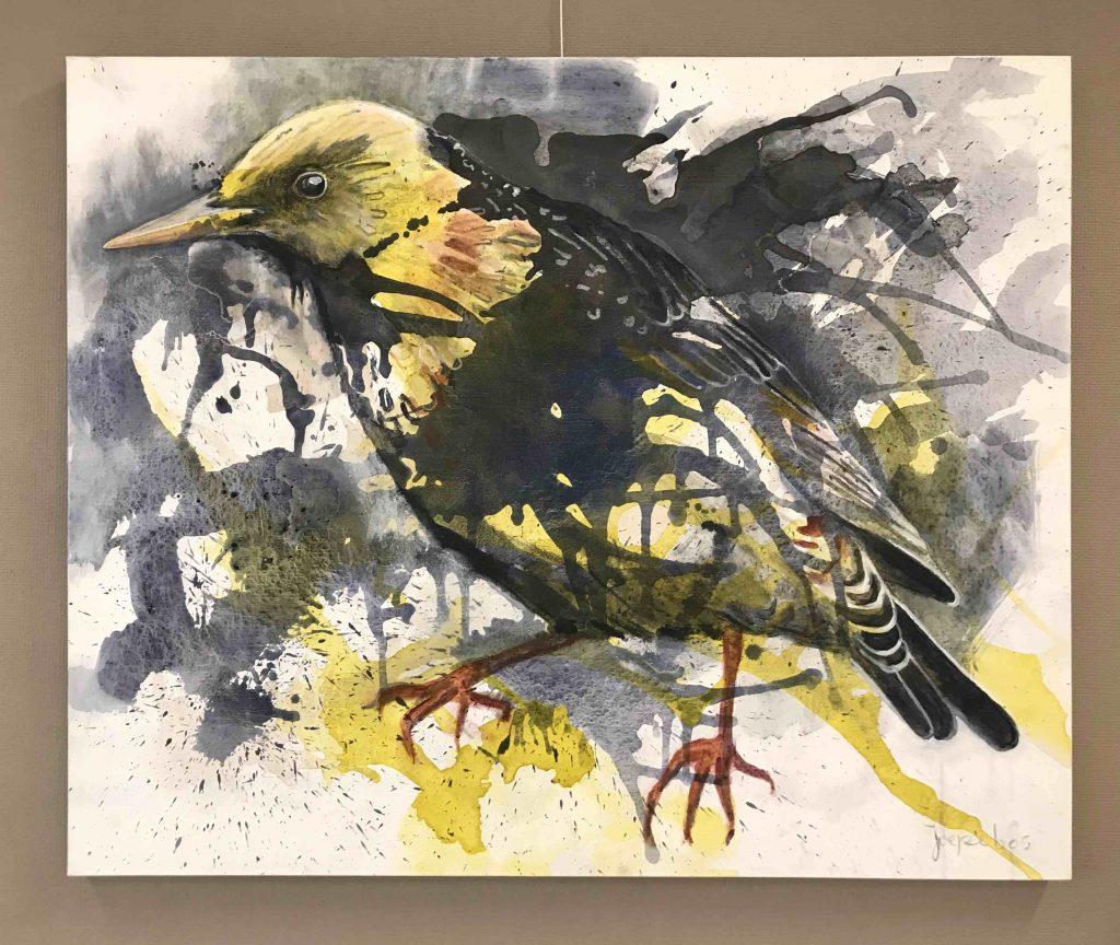Gele spreeuw 2020 acryl op linnen, 90 x 110 cm