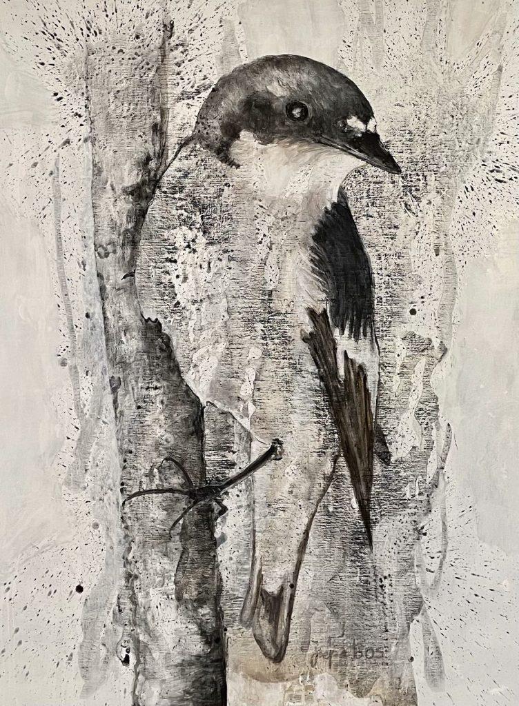 schilderij-joepe-bos-bonte-vliegenvanger-2020-160x120