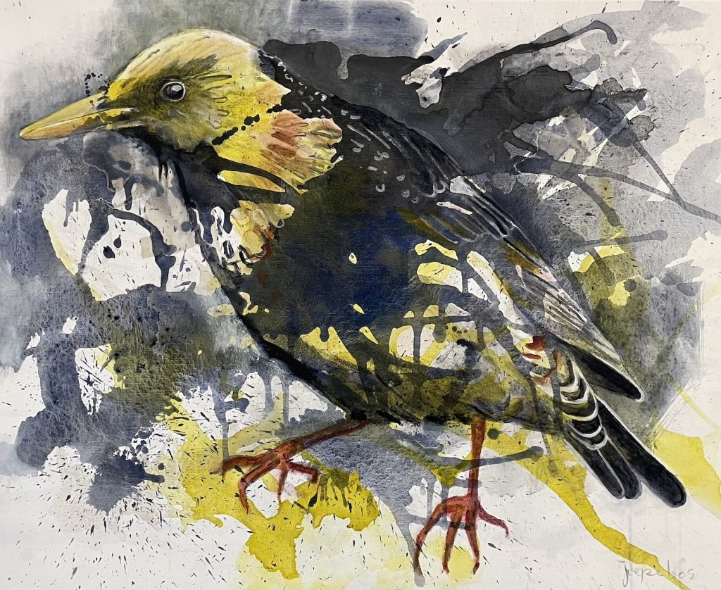 schilderij-joepe-bos-gele-spreeuw-2020-90x110