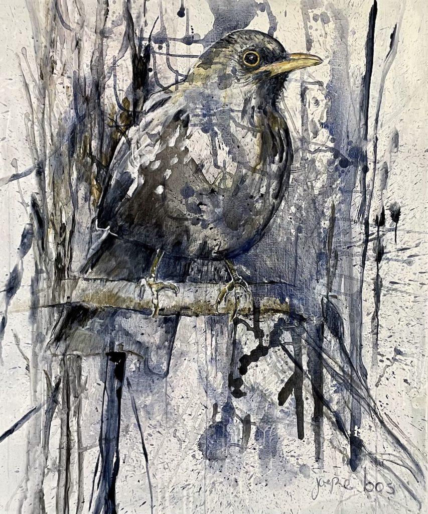 schilderij-joepe-bos-merel-in-bos-120x100