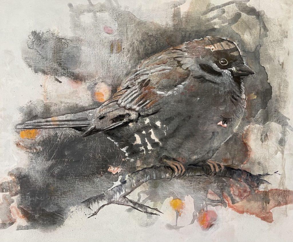 schilderij-joepe-bos-mus-op-tak-2020-100x120